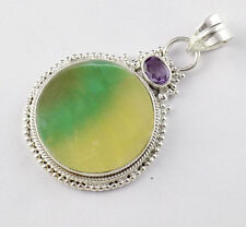 925 Sterling Silver Natural Fluorite 28mm Cabochon Unpolished Gemstone Pendant
