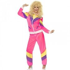 Womens 1980s Pink Shell Suit Fancy Dress Costume 80s Adult Chav Ladies Outfit