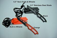 "Neck Boot Knife & Whistle 6.5"" Emergency Camping Hunting Tactical Survival Knife"