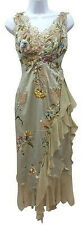 MANDALAY EMBROIDERED EMBELLISHED LACE APPLIQUES COCKTAIL SILK DRESSS