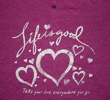 *SALE* LIFE IS GOOD Womens M Vee Fitted Tee/T-Shirt Mini Henley Hearts Love NWT