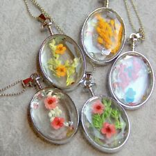 Silver Plated Natural Dried Flowers & Rhinestones In Oval Glass Pendant Necklace