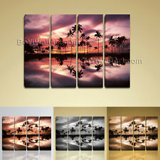 Huge Wall Art Contemporary Landscape Sunset Palm Tree Beach Picture Canvas Print
