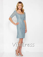 Mother Of The Bride Dresses Half Sleeve Lace Appliques Keen Length Formal Gowns