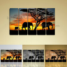 Large Modern Canvas Print Africa Landscape Tree Elephant Sunset Wall Art Framed