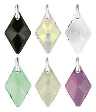 Sterling Silver Pendants with SWAROVSKI 6320 Rhombus 14mm Crystals * Many Colors