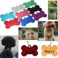 Pet Cat Dog ID Tag Bone Shape Pet Name ID Tags Collar BLANK TAG