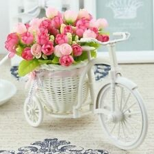 Large Rattan Tricycle Bike Flower Basket Vase Storage Party Decor