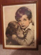 Vintage John Knowles Genuine Hand colored Etching of Boy & Dog Signed