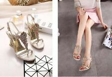 New Luxury Slope heels diamond open toe female sandals sexy wedding party shoes