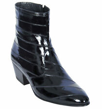 Los Altos Full Genuine Eel Dress Ankle Boots Medium Round Toe Side Zipper EE