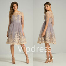 Purple Evening Dresses Lace Applique Half Sleeve Prom Party Formal Gowns Custom