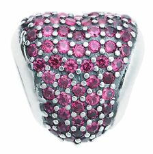 Sterling Silver Love Heart Pink CZ Crystal Bead for European Charm Bracelets