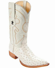 Los Altos Genuine WINTER WHITE Ostrich 3X Toe Boots Handmade Western Cowboy D