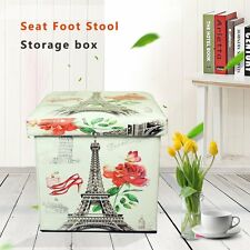Folding Leather Storage Pouffe Cube Foot Stool Seat Ottoman Footstool Toy Box