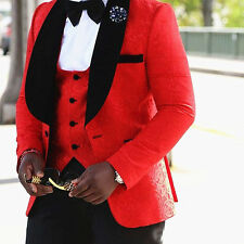 RED Floral Men's Wedding Suits Groom Tuxedos Slim Fit Groomsman Prom Party Suits