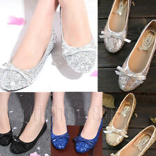Womens Sequins Bow Flats Pumps Glitter Ballet Dolly Bridesmaid Bridal Prom Shoes
