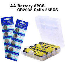 8X AA 2000mAh High Density Rechargeable Batteries Ni-MH Cells+25pcs CR2032 CEF8