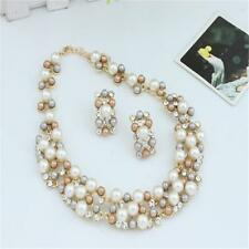 New Women Imitate Pearl Necklace Chunky Statement Bib Necklace + Earrings WLz