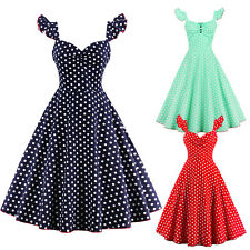 Women's 1950s 60s Vintage Rockabilly Swing Dress Retro Dot Cocktail Party Dress