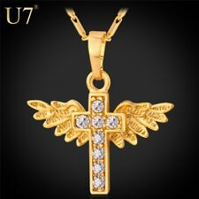U7 Angel Wings Cross Pendant Necklace Gold Plated Crystal Christian Jewelry