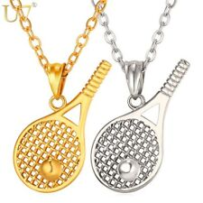 U7 Tennis Racket Necklace For MenWomen Gift Stainless Steel Gold Plated Chain