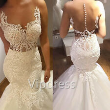 Mermaid Sheer Neck Wedding Dresses Lace Applique Sweep Train Bridal Gowns Custom