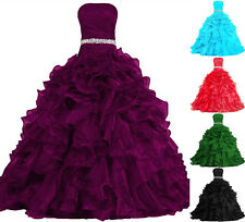 Stock Quinceanera Pageant Ball Gown Formal Prom Party Dress Wedding Bridal Gown