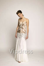 Spaghetti Evening Dresses Lace Appliques Beading Formal Party Prom Gowns Custom