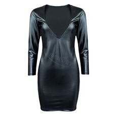 Sexy Women Black Plunging V-neck Long-sleeve Clubs Cocktail Faux Leather Dress