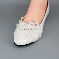 Wedding shoes white lace pearl bridal bridesmaid shoes flats low high heel pump