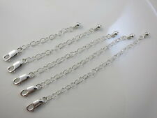 Necklace Extender Chain .925.Sterling Silver Handwrapped Ball Bead Detail