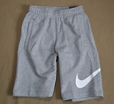 NWT BOYS YOUTH NIKE GRAY SWOOSH STRAIGHT FIT ATHLETIC SWEAT SHORTS SZ S M