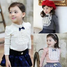 Lovely Lace Bowknot Long Sleeve Baby Girls Princess Ruffle Tops T-shirt Clothes