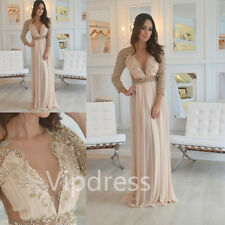 Custom V-neck Evening Dresses Pearls Beading Formal Party Prom Gowns Full Length