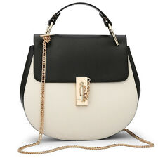 Bag Saddle Leather Chain Gold Crossbody Shoulder Women Handbag Strap Round Tote