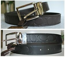 NWT COACH Men Signature Embossed Reversible Leather Belt F90209 Size 30 to 44