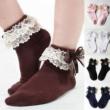 Children Girls Kids Solid Cotton Bow Socks Breathable butterfly Lace Hosiery