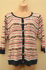 New M&S Per Una Cotton Knit Stripe Patterned  Pink Blue White Cardigan 16 18  22