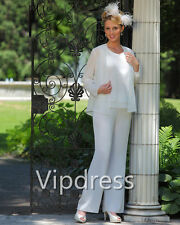 Chiffon White Mother Of The Bride Dresses Woman Pants Suits Long Sleeve Jackets
