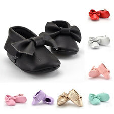 Baby Kids Infant Boy Girl Toddlers bowknot Leather Soft Sole Prewalker Shoes NEW