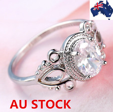 18K gold plated Round White Topaz Gemstone Ring Fashion Men Women Ring