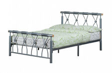Modern Knot Detail Silver Metal Bed Frame 3ft,4ft,4ft6,5ft with/without Mattress