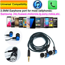Plated Fabric Braided Microphone Earphone In Ear Headset For Tablet Laptop Lot