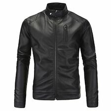 Casual Business Motorcycle Washable PU Leather Jacket Collar Coat
