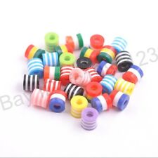 Wholesale Mixed ZEBRA & STRIPE ACRYLIC Cylinder Mixed Spacer Beads 8.5x8.5MM