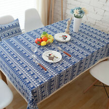 Elegant Blue Elephant  Coffee Table Cotton Linen Cloth Cover oAUr