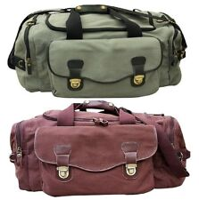 Large Military Style Duffel Bag, Canvas with Leather Accents & Brass Fittings