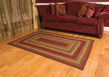Jute Braided Area Rugs Country Style Oval Rectangle Red Green Carpet Rug New