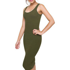 Women Scoop Neck Ribbed Design Below Knee Slim Fit Tank Dress